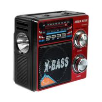 Radio FM/ AM Megastar RX-803BT 5W com Bluetooth/ USB/ Lanterna - Preto/ Vermelho