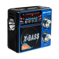 Radio FM/ AM Megastar RX-803BT 5W com Bluetooth/ USB/ Lanterna - Preto/ Azul