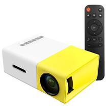 Projetor YG-300 Mini de 400 A 600 Lumens com USB/ HDMI/ Auxiliar/ A.V - Branco/ Amarelo
