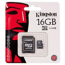 Cartao de Memoria Micro SD Kingston 16GB Class 4 (Card+Adaptador)