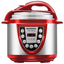 Panela de Pressao Eletrica Mondial Pratic Cook Premium PE-12 de 5LTS 110V - Prata/Vermelho