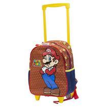 Mochila de Rodinha Infantil Chenson Super Mario CG31783 - Marrom