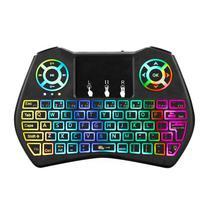 Teclado Controle para HTV/Ipbox/BTV Universal Air Mouse i9 Plus com RGB 2.4GHZ - Preto