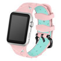 Pulseira 4LIFE de Silicone Diamond para Apple Watch 38MM - Rosa e Verde