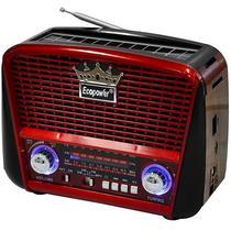 Radio Portatil AM/FM/SW Ecopower EP-F108B 3W com Bluetooth/USB - Preto e Vermelho