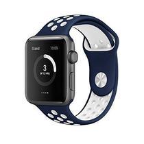Pulseira 4LIFE de Silicone Nike para Apple Watch 38MM - Azul Escuro / Branco