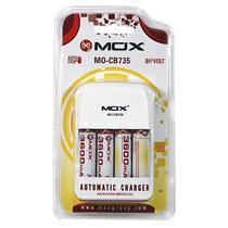 Carregador de Pilha Mox MO-CB735 para 4 Pilhas AA e 4 AAA/Bivolt - Branco