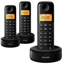 Telefone Sem Fio Philips D1303B/55 com Identificador de Chamadas - Preto