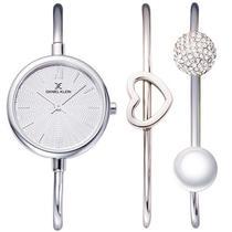 Relogio Analogico Daniel Klein Gift Set DK12032-5 Feminino com Duas Pulseiras de Aco Inoxidavel - Prata