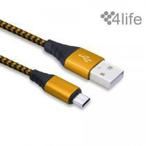 Cabo Microusb - USB 4LIFE Nylon - Laranja/Preto $