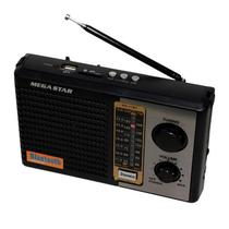 Radio Portatil Megastar RX-17BT AM/FM com Bluetooth/USB/SD Bivolt - Preto