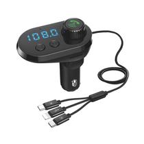 Transmissor FM e Carregador Quanta QTFMBT16 Bluetooth - Preto