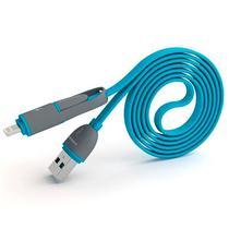 Cabo USB 2 Em 1 Lightning/Micro USB Pineng PN-301 de 1 Metro - Azul