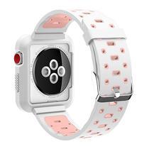 Pulseira 4LIFE de Silicone para Apple Watch 42MM - Branco e Rosa
