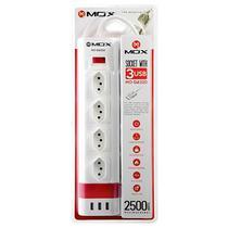 Filtro de Linha Mox MO-SL4320 4 Tomadas Tipo N/3 USB Cabo de 1.5 M Bivolt - Branco
