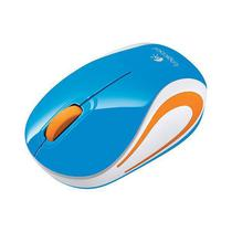 Mouse Logitech M187 Mini Wireless 1000DBI 3 Botoes A Pilha AAA - Branco/Azul.