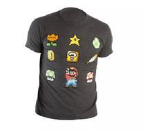 Camiseta Super Nintendo Iconos Cinza 0127