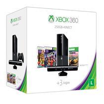 Console Xbox 360 Super Slim 250GB com Kinect e 3 Jogos / Usa - Preto