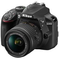 """Camera DSLR Nikon D3400 de 24.2MP Tela 3.0"""" com Bluetooth + Kit VR 18-55 - Preta"""
