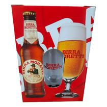 Cerveza Birra Moretti 330ML Kit c/ Vaso Uni.