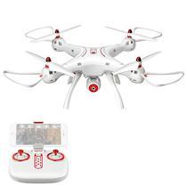 Drone Syma X8SW com FPV Via Wi-Fi Giroscopio de 6 Eixos Camera HD 720P - Branco/Vermelho