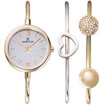Relogio Analogico Daniel Klein Gift Set DK12032-3 Feminino com Duas Pulseiras de Aco Inoxidavel - Dourado e Prata