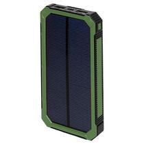 Carregador Portatil Solar Quanta PT-6400 12000MAH Lanterna LED Preto Verde