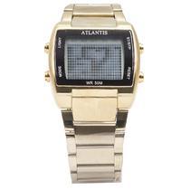 Relogio Digital Atlantis G5484 Masculino Aco - Dourado/ Preto