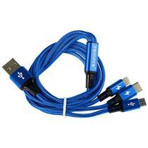 Cabo USB 3 Em 1 Prosper P-5515 Micro USB + USB-C + Lightning - Azul