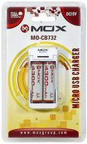 Carregador USB Mox MO-CB732 para Pilhas Recarregaveis AA/AAA com 2 Pilhas - Branco