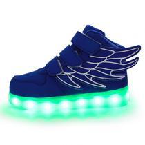 Tenis LED Velcro Cano Alto com Asas Azul #27