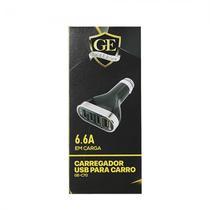 Carregador Gold Edition para Carro GE-C70 Ios 4P-USB 6.6A-Preto