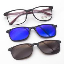 Oculos de Grau Visard com Clip-On TR90-6006 53-18-142 C7 - Vermelho e Preto 6416f948ad