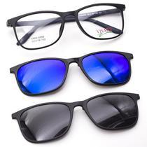 Oculos de Grau Visard com Clip-On On TR 6006 53-18-142 C5 - Preto