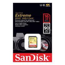 Cartão de Memória Sandisk SD Extreme 90-40 MB/s U3 4K 16GB