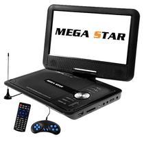 "DVD Portatil Megastar DVD-9880 Tela 9.8"" com USB/SD/TV/FM - Preto"