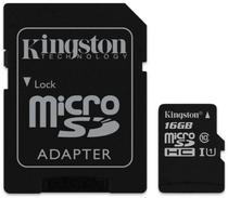 Cartão de Memória Micro SD Kingston 16GB 2X1 Classe 10