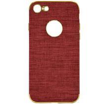 Capa para iPhone 7/8 Wesdar Material de Tecido - Vermelho Claro e Dourado
