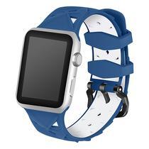 Pulseira 4LIFE de Silicone Diamond para Apple Watch 42MM - Azul e Branco