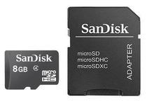 Cartao de Memoria Micro SD-HC Sandisk 8GB 2X1 Class 4