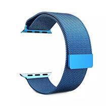 Pulseira 4LIFE de Aco Inoxidavel Estilo Milanes para Apple Watch 42MM, Magnetico - Azul