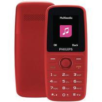 """Celular Philips E108 Dual Sim Tela 1.77"""" Radio FM - Vermelho"""
