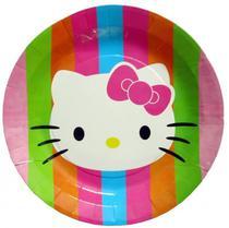 Pratos Descartaveis Hello Kitty para Festa 10 Unidades 18 X 18 CM