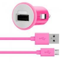 Carregador Veicular Belkin 2.1A F8M700BT04 + Cabo Micro USB - Rosa