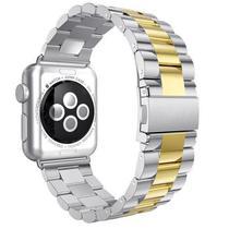 Pulseira 4LIFE de Aco Inoxidavel para Apple Watch 42MM - Prata e Dourado