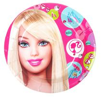Pratos Descartaveis Barbie para Festa 10 Unidades 18 X 18 CM