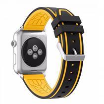 Pulseira 4LIFE Silicone para Apple Watch Color Flower - 38MM - Preta / Amarela