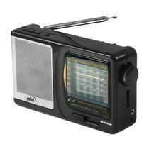 Radio Portatil Midi MD-4510USB 12 Bandas 0.5W com FM/ MW/ SW1-10/ USB/ SD - Preto/ Prata