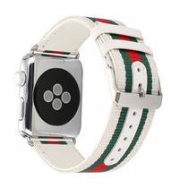 Pulseira 4LIFE de Nylon e Couro para Apple Watch 38MM Branco/Vermelho/Verde
