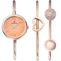 Relogio Analogico Daniel Klein Gift Set DK12032-2 Feminino com Duas Pulseiras de Aco Inoxidavel - Rosa Ouro